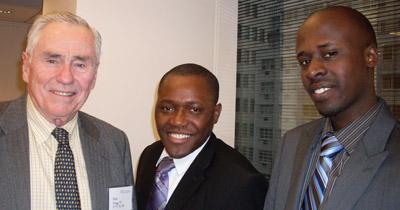 The Honorable Donald P. Gregg '51, Willis Chipango '09, Zambia, Wilson Kamali '09 Rwanda